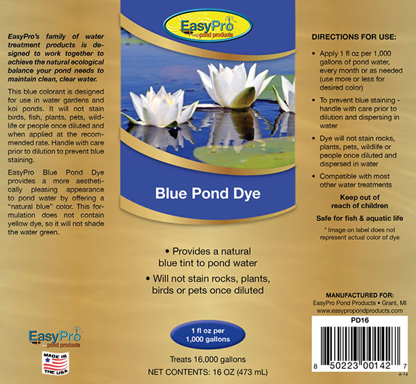 Pd16 concentrated blue pond dye 16oz 1 pint easypro for Blue pond dye
